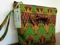 Womens gift luxury unique Thai silk handmade make up bag /case project bag