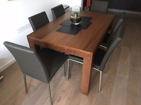 Bo Concept Extendable Dining Table and 6 Leather Chairs