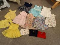 Bundles of baby girl clothes 3-6 months tops, dresses, cardigan and vests.