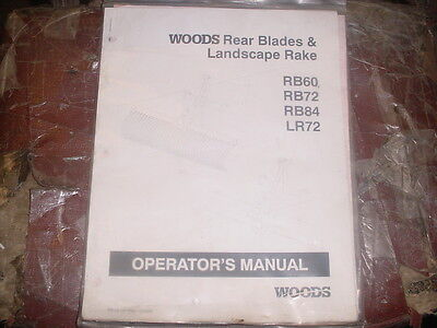 Woods Rb60 Rb72 Rb84 Lr7 Rotary Lawn Owners Manual Mower Manual Book Belly Mount