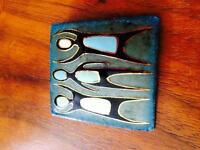 Mid century signed enamel and copper pin brooch OBO