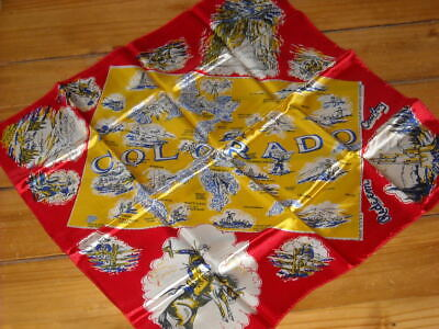 Vintage Rodeo Scarf colorado map Western Graphics ride 'em cowboy 23 x 23 inches