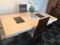 Full Marble Dining Table & 4 Chairs