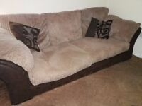 3 seater sofa cream and brown x2
