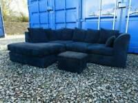 Dark Blue/Black Corner Sofa+Footstool *Excellent Clean Condition*
