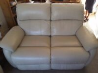 Cream leather sofas and chair