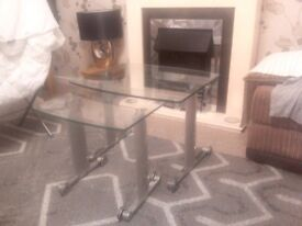 Chrome glass side tables