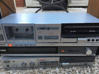 Hitachi Stereo Amplifier + AM-FM Stereo Tuner + Cassette Player/Recorder + Dual Speakers