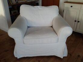 White Ikea Ektorp armchair