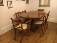 Bradley Yew Extending dining table with 6chairs