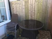 Garden glass table and 4x chairs for sale