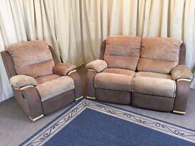 Modern 2 Piece Suite Brown & Beige 2 Seater Sofa & Armchair