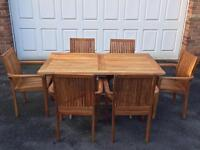 Teak garden furniture set: table and six (6) chairs