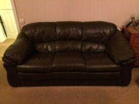 Brown Real Leather 3 piece suite