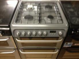 Silver Hotpoint gas cooker (fan oven)