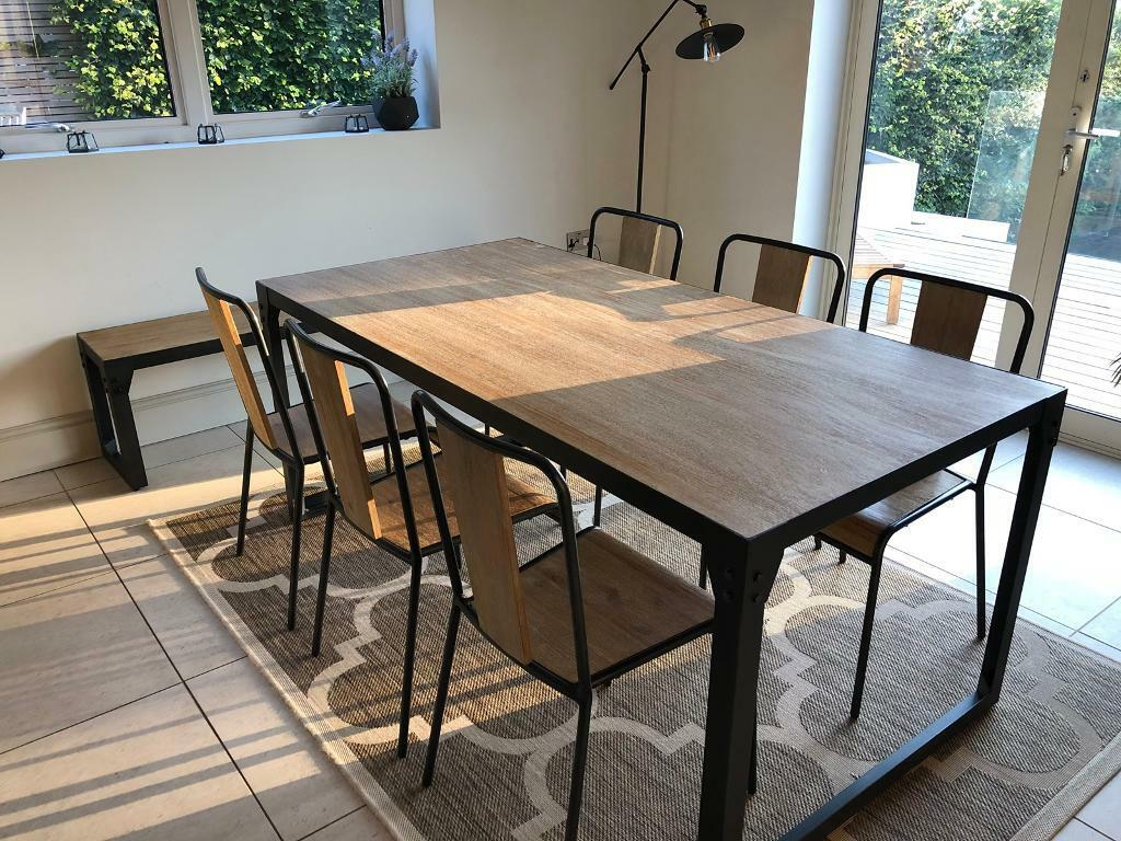 Style Dining Set Table 6 Chairs And Bench