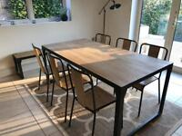 Industrial style dining set; dining table, 6 chairs and bench