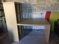 Ikea desk with shelving unit attached