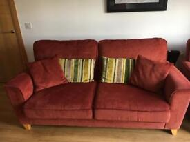 3 seater sofa and two chairs terracotta fabric
