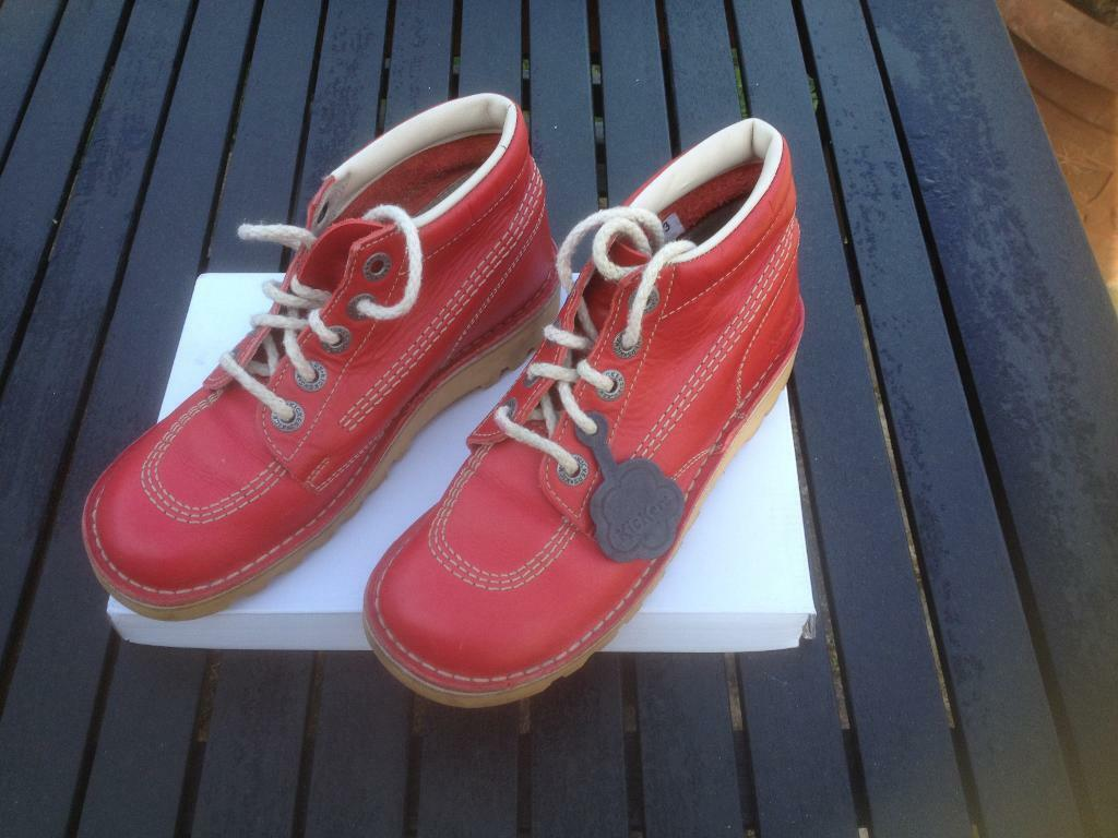 Ladies Kickers red leather ankle boots