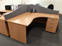 2 Office Corner Tables with Pedestal's