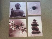 Buddha / flowers / pebbles canvas art set