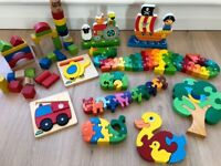 Wooden puzzles and building blocks for toddlers