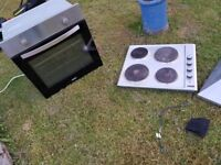 Lamona electric oven, 4 ring electric hob and chimney extractor hood.