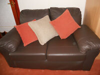 Beautiful quality leather two-seater settee, as new