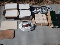 A mixture of bathroom/kitchen tiles