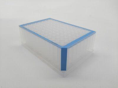 Deepwell Plate 96/1000 µL, Wells klar, 1.000 µL, PCR clean, blau, 20 Platten