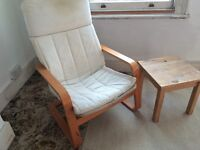 IKEA LOUNG CHAIR, BENT WOOD ARMS, CREAM CUSHIONED SEAT, WITH SMALL WOODEN SIDE TABLE