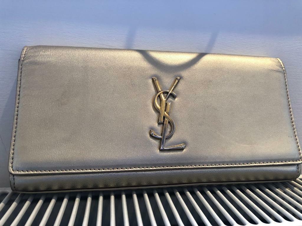 3c453efe YSL Silver Gold metallic cassandre clutch   in South Kensington ...