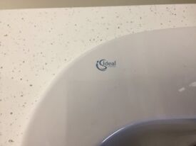 Bathroom units c/w top, basin and tap, Grey gloss.