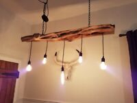 Bespoke yew wood rustic hanging light fitting