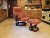 Ekornes Stressless Reclining Leather Chair + Stool + Swing Drinks Tray