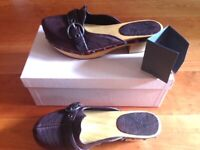 Brand New Miu Miu Prada Leather Clogs Shoes Size 37.5 with original box and card