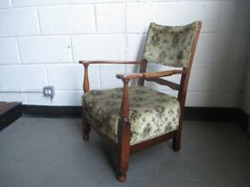 VINTAGE OAK FRAMED LOW ARMCHAIR