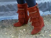LADIES REAL SUEDE COWBOY TASSEL AND STUD BOOTS BRAND NEW SIZE 4