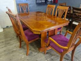STUNNING MAHOGANY WOODEN DINING TABLE EXTENDABLE WITH 6 CHAIRS