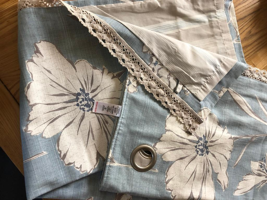 Pale blue patterned curtains from next