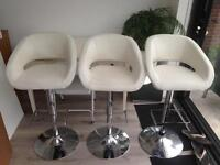 3 White Leather Adjustable Bar Stools