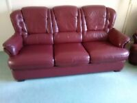 Burgundy leather 3 seater sofa and 2 armchairs