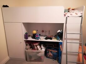 High sleeper cabin bed with storage desk and wardrobe