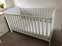 John Lewis Cotbed, pocket spring mattress and 2 white fitted Cotbed sheets