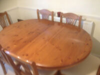 Antique Pine extending table and 6 chairs, plus sideboard