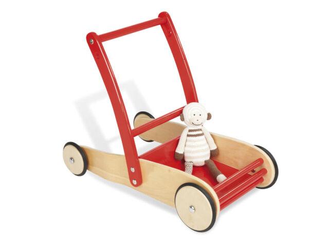Lauflernwagen Lauflernhilfe Holz Baby Walker Laufwagen Puppenwagen Gehfrei Rot