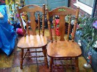 Pair Oak Fireside Chairs