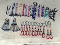 Climbing rack, nuts slings quickdraws hexes rope etc