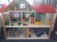 Wooden Lakeshore dolls house plus furniture